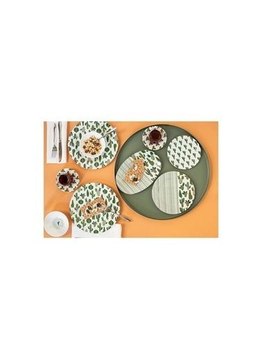 Porland 04Por033149 Kaktüs 36 Parça 6 Kişilik Yeşik Desenli Kahvaltı Takımı Renkli
